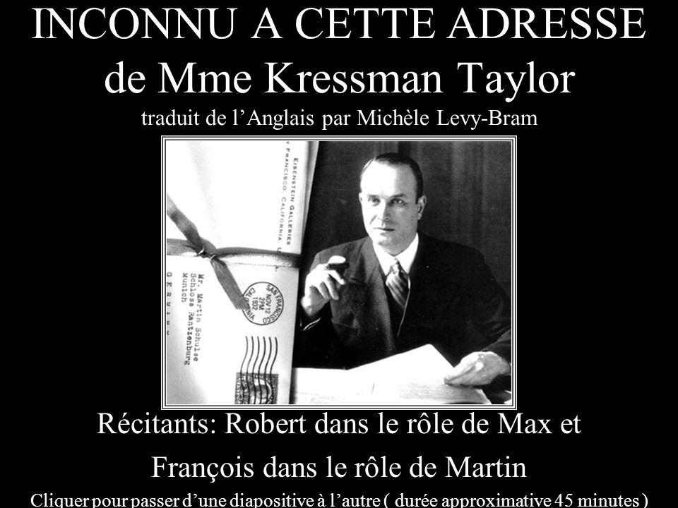 INCONNU A CETTE ADRESSE de Mme Kressman Taylor traduit de l'Anglais par Michèle Levy-Bram