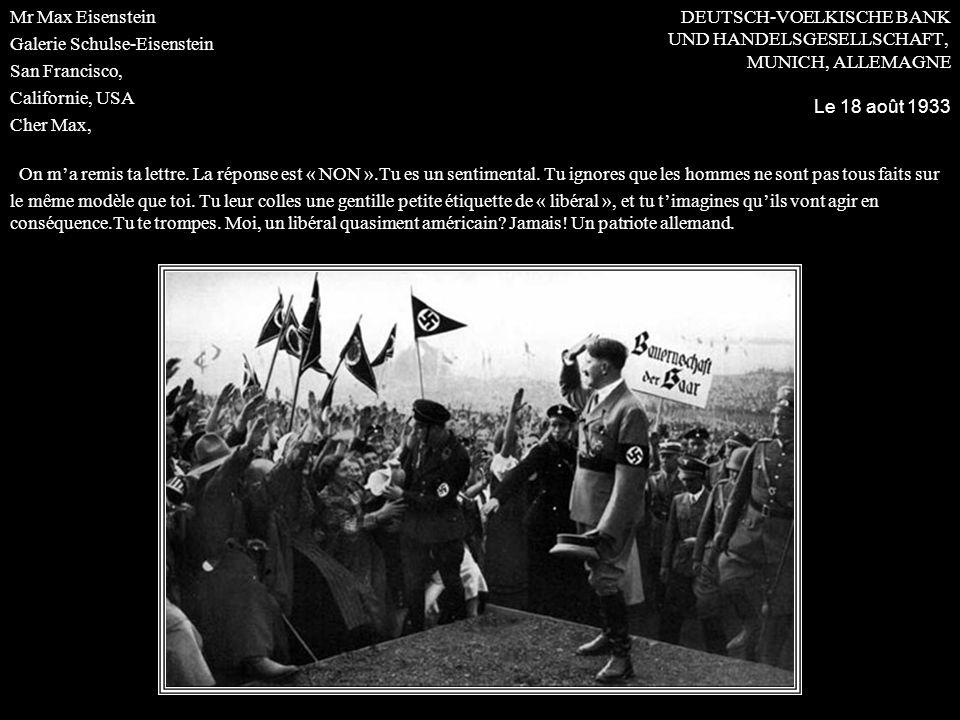 DEUTSCH-VOELKISCHE BANK UND HANDELSGESELLSCHAFT, MUNICH, ALLEMAGNE Le 18 août 1933