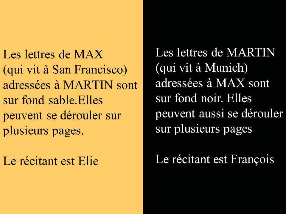 Les lettres de MAX (qui vit à San Francisco) adressées à MARTIN sont sur fond sable.Elles peuvent se dérouler sur plusieurs pages. Le récitant est Elie
