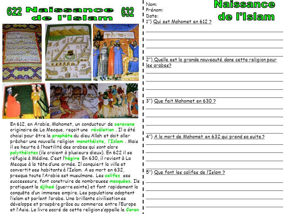 Naissance de l Islam 622 Naissance de l Islam 632 Nom: Prénom: Date: