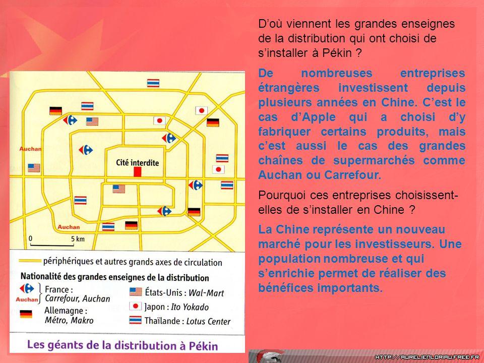 D'où viennent les grandes enseignes de la distribution qui ont choisi de s'installer à Pékin