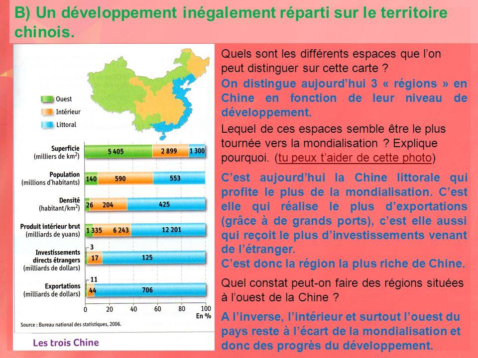 B) Un développement inégalement réparti sur le territoire chinois.