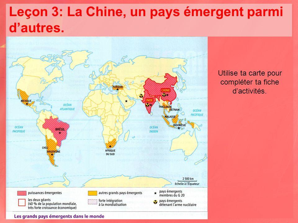 Leçon 3: La Chine, un pays émergent parmi d'autres.