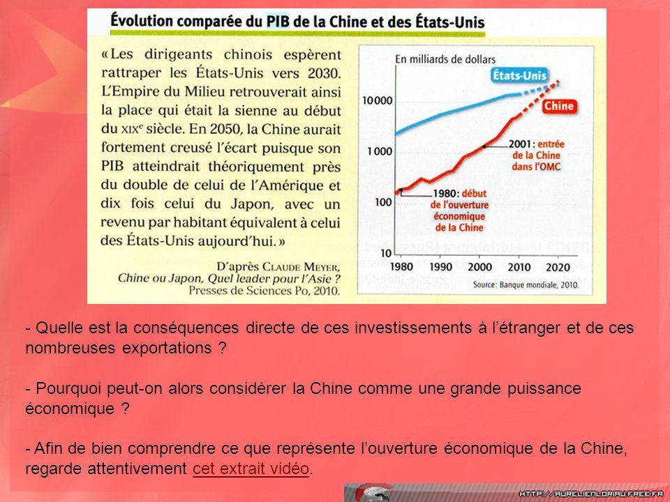 Quelle est la conséquences directe de ces investissements à l'étranger et de ces nombreuses exportations