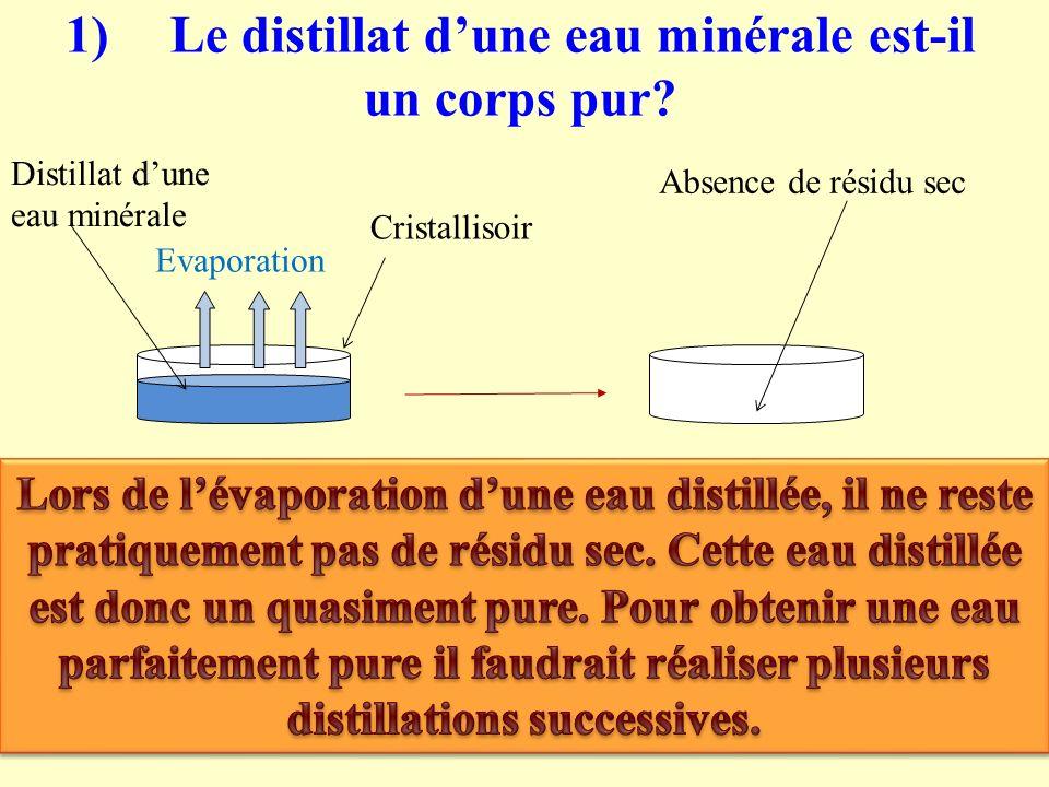 1) Le distillat d'une eau minérale est-il un corps pur