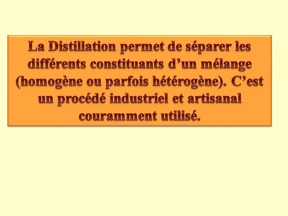 La Distillation permet de séparer les différents constituants d'un mélange (homogène ou parfois hétérogène).