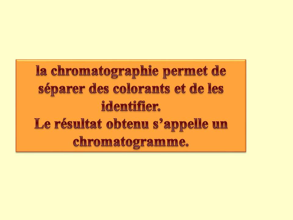 Le résultat obtenu s'appelle un chromatogramme.