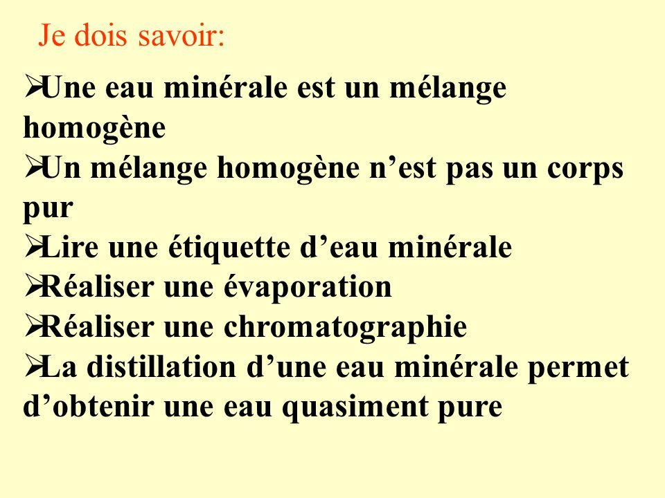 Je dois savoir: Une eau minérale est un mélange homogène. Un mélange homogène n'est pas un corps pur.