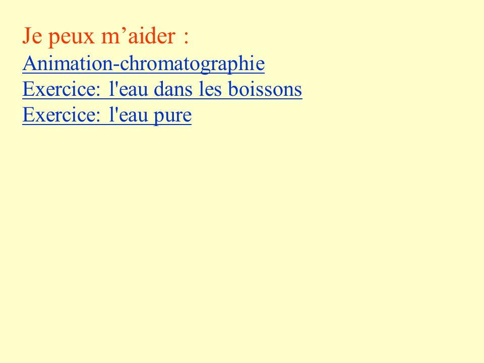 Je peux m'aider : Animation-chromatographie