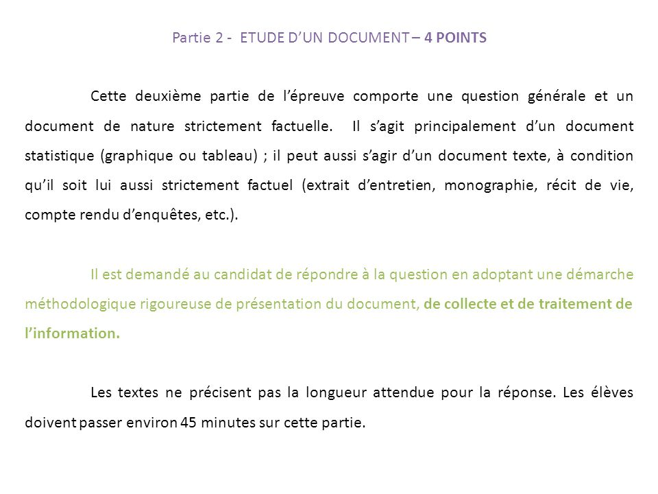 Partie 2 - ETUDE D'UN DOCUMENT – 4 POINTS