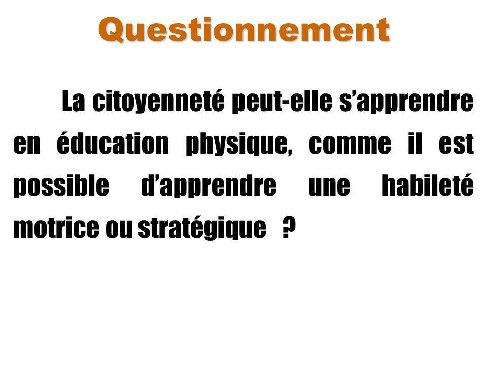 Questionnement La citoyenneté peut-elle s'apprendre en éducation physique, comme il est possible d'apprendre une habileté motrice ou stratégique