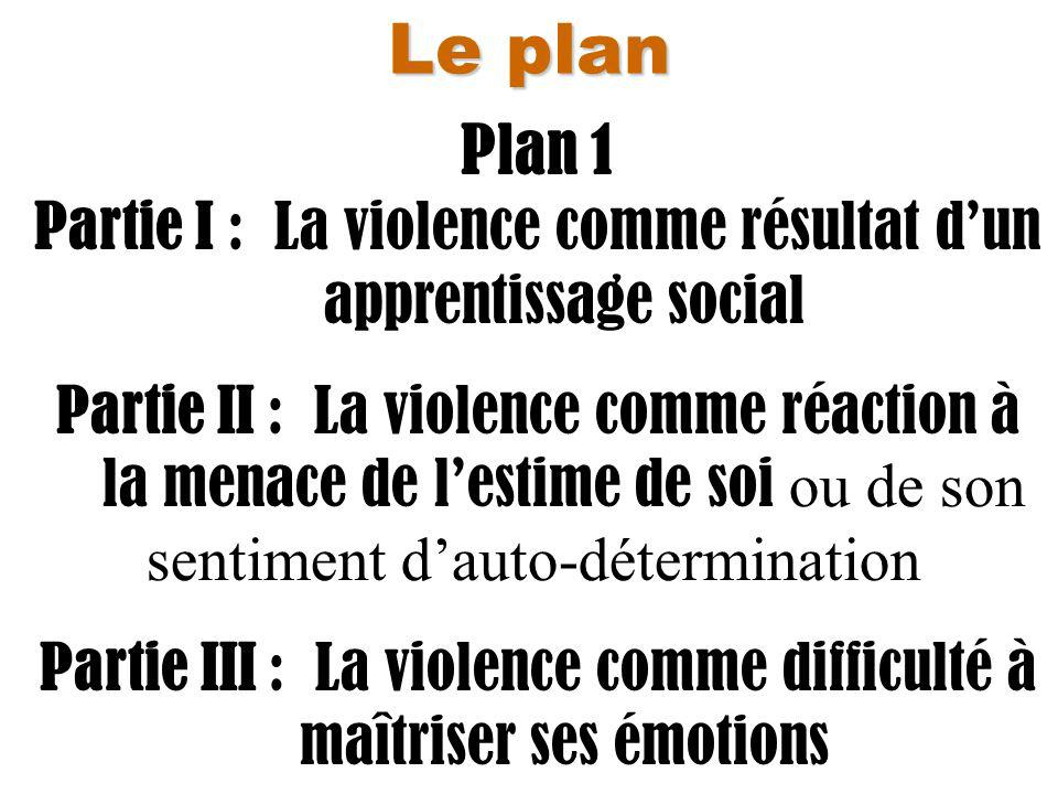 Le plan Plan 1. Partie I : La violence comme résultat d'un apprentissage social.
