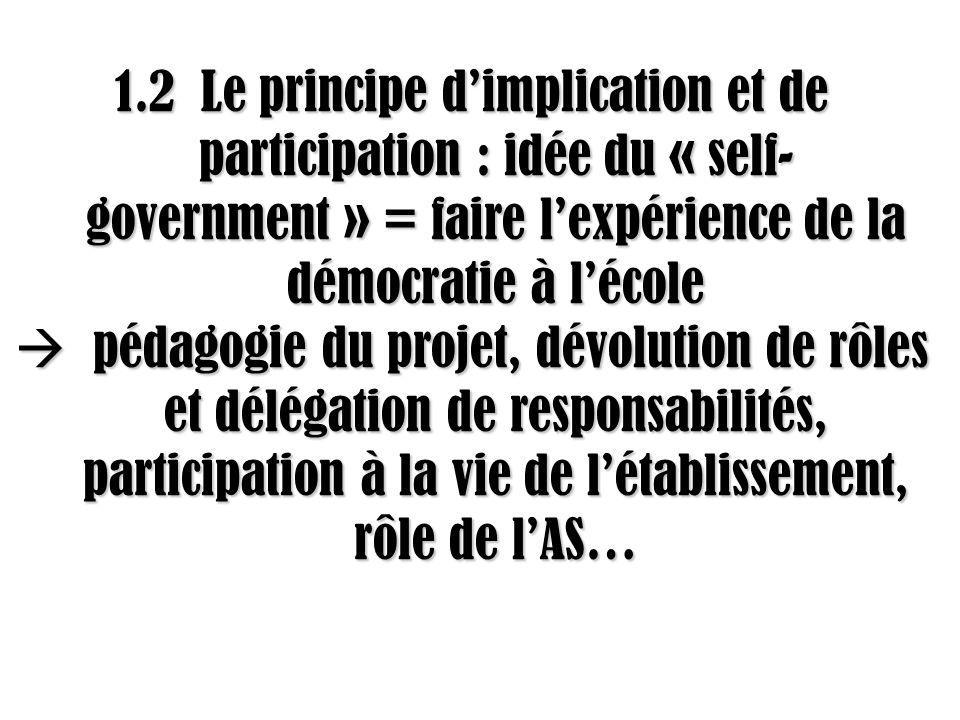 1.2 Le principe d'implication et de participation : idée du « self-government » = faire l'expérience de la démocratie à l'école