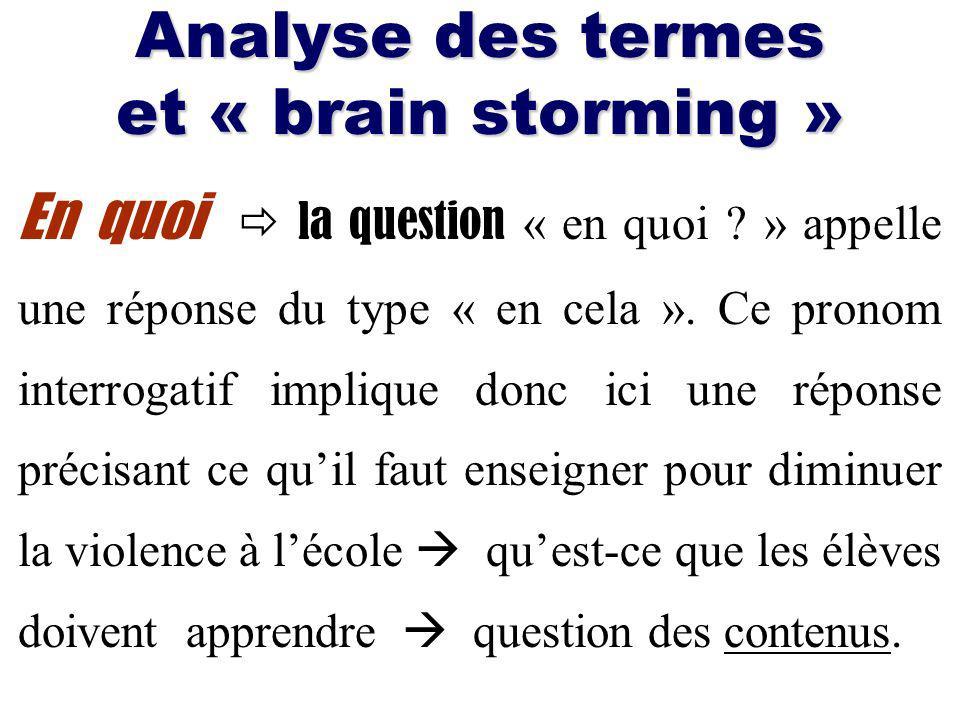 Analyse des termes et « brain storming »