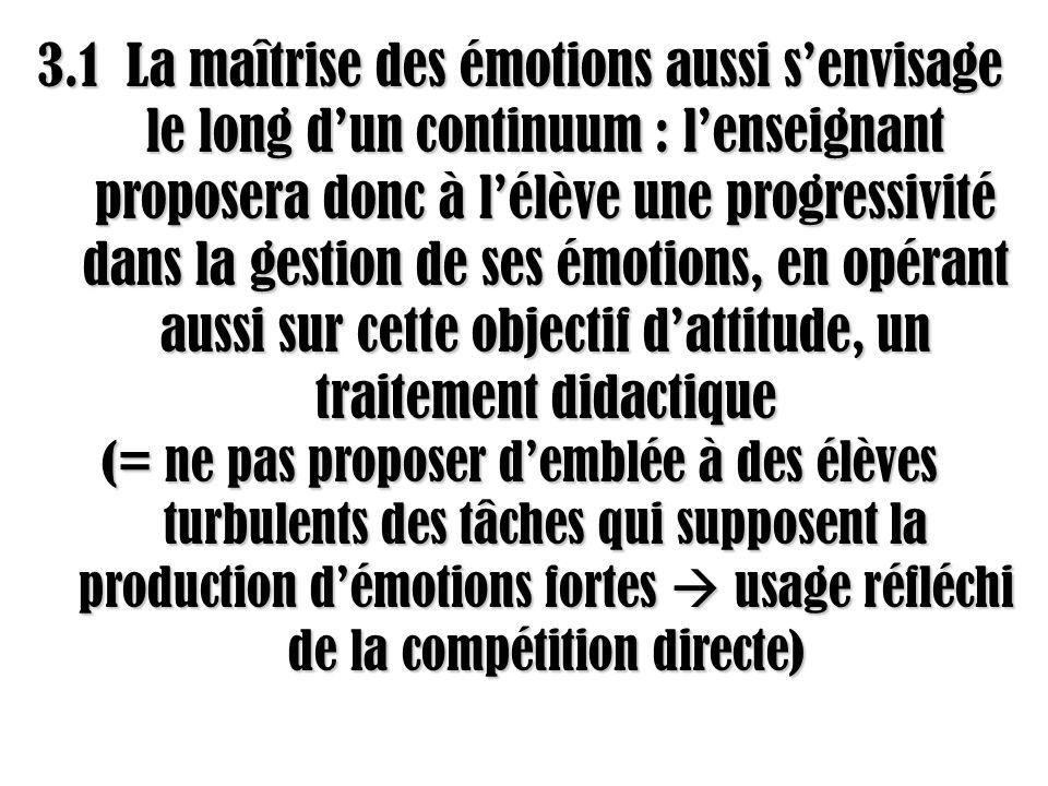 3.1 La maîtrise des émotions aussi s'envisage le long d'un continuum : l'enseignant proposera donc à l'élève une progressivité dans la gestion de ses émotions, en opérant aussi sur cette objectif d'attitude, un traitement didactique