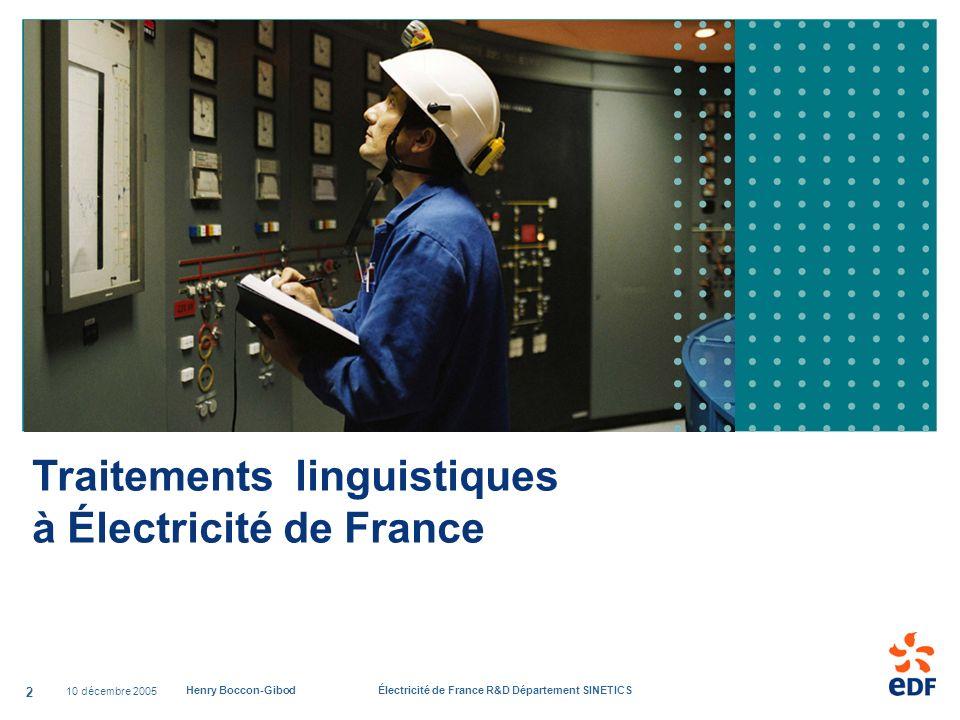 Traitements linguistiques à Électricité de France
