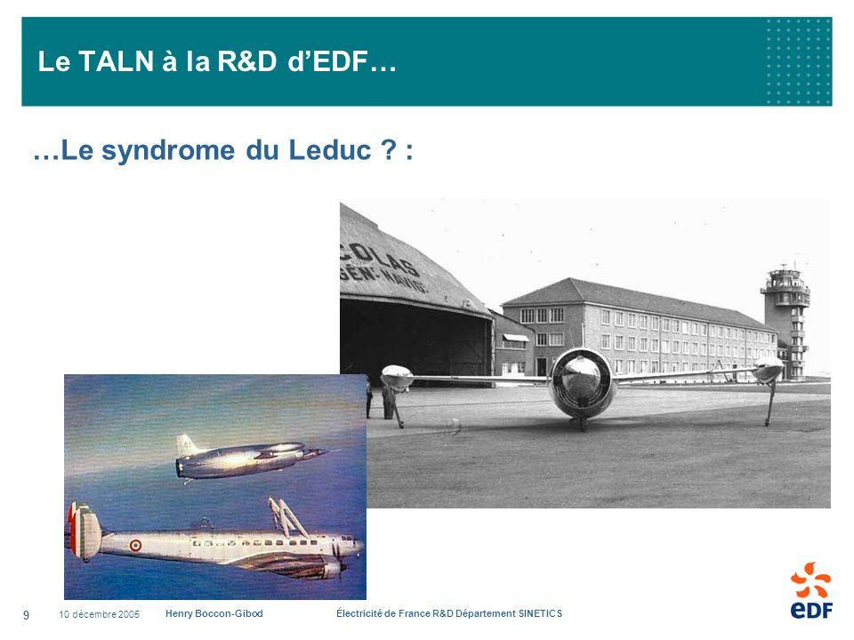 Le TALN à la R&D d'EDF… …Le syndrome du Leduc : 10 décembre 2005