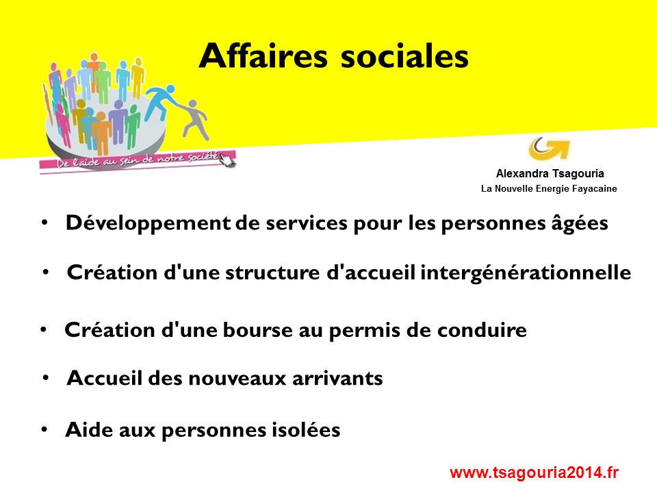 Affaires sociales Développement de services pour les personnes âgées