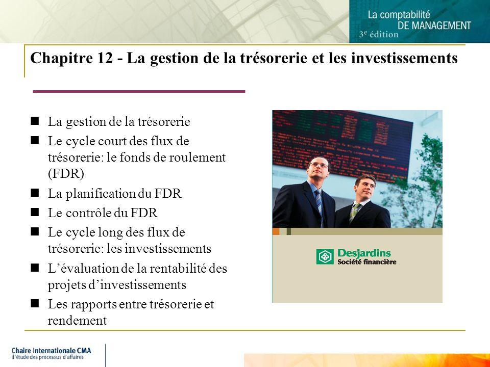 Chapitre 12 - La gestion de la trésorerie et les investissements