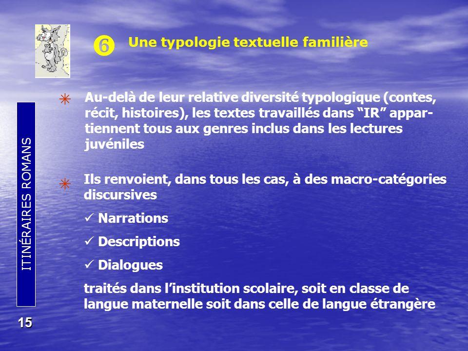    Une typologie textuelle familière