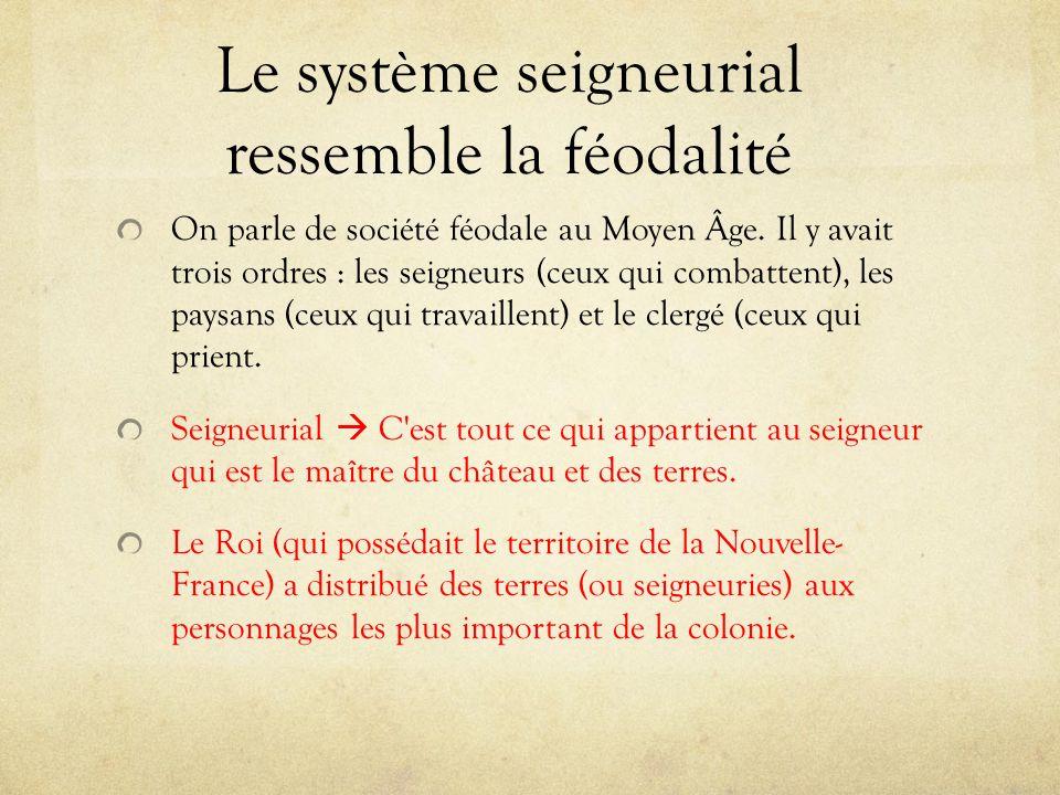 Le système seigneurial ressemble la féodalité