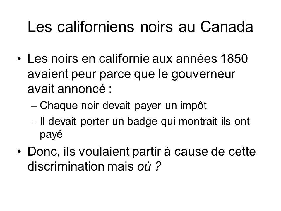 Les californiens noirs au Canada