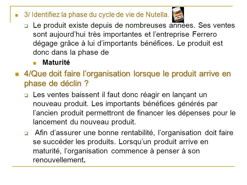 3/ Identifiez la phase du cycle de vie de Nutella.