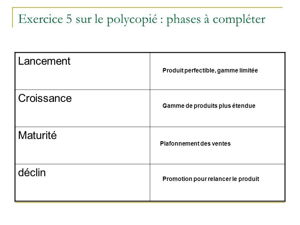 Exercice 5 sur le polycopié : phases à compléter