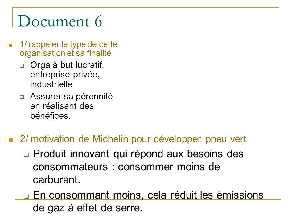 Document 6 1/ rappeler le type de cette organisation et sa finalité. Orga à but lucratif, entreprise privée, industrielle.