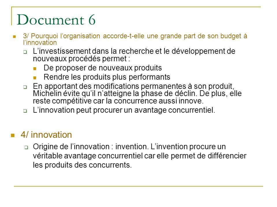 Document 6 3/ Pourquoi l'organisation accorde-t-elle une grande part de son budget à l'innovation.