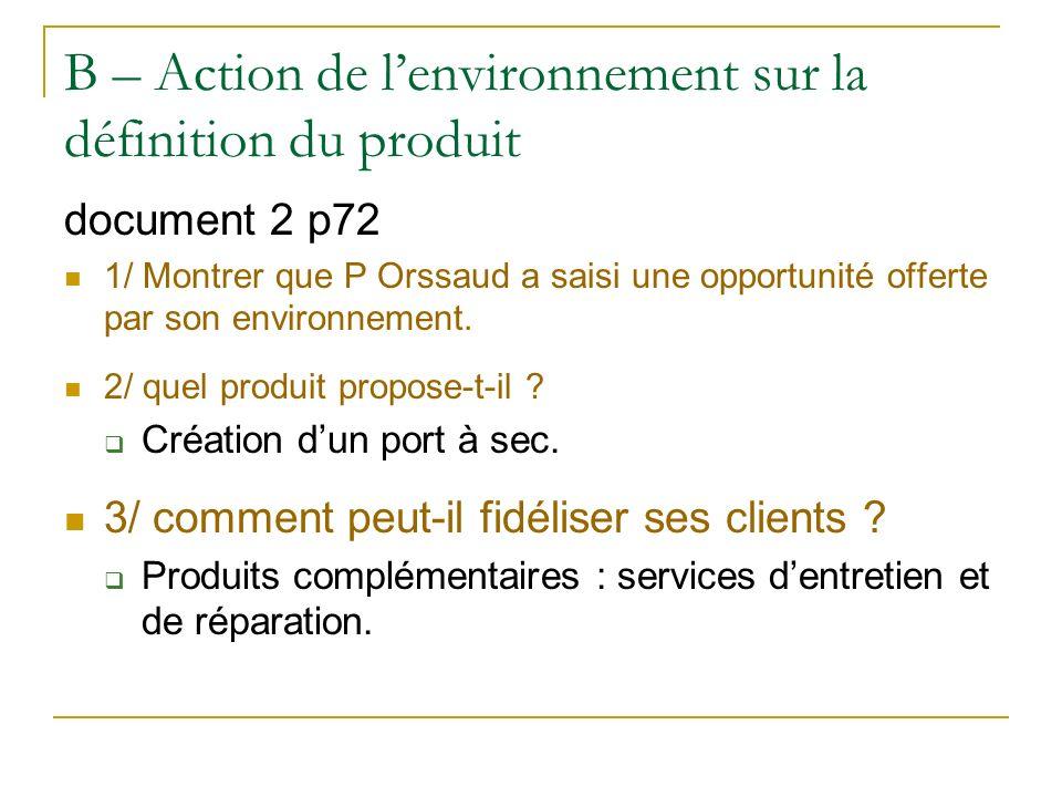 B – Action de l'environnement sur la définition du produit