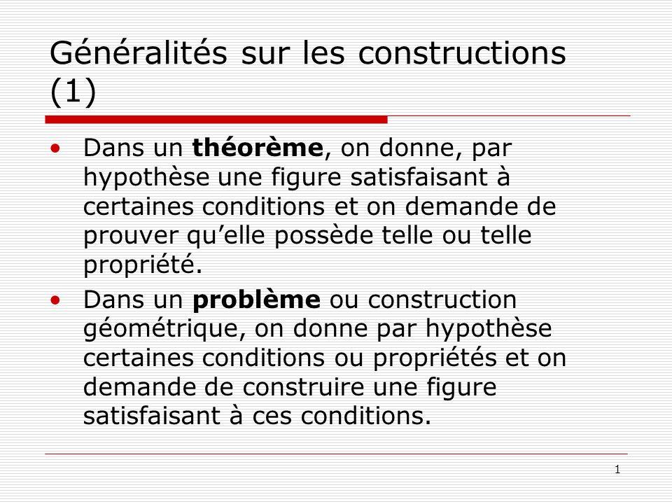 Généralités sur les constructions (1)