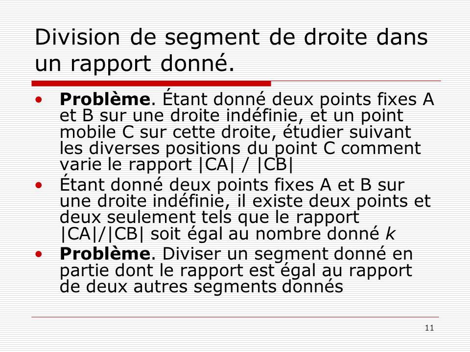 Division de segment de droite dans un rapport donné.