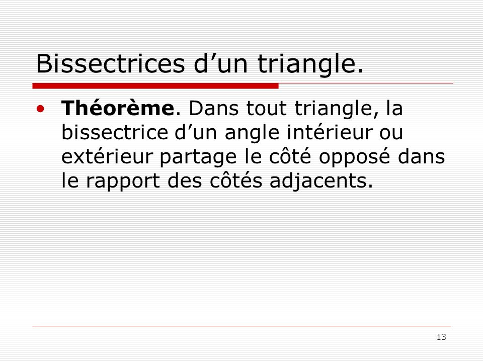 Bissectrices d'un triangle.