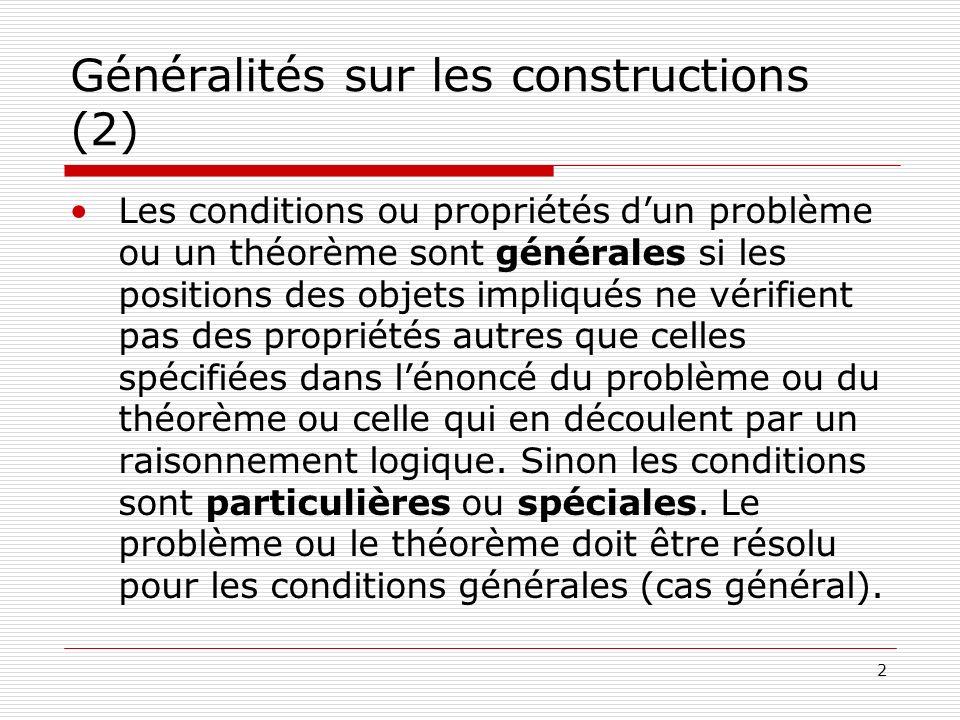 Généralités sur les constructions (2)
