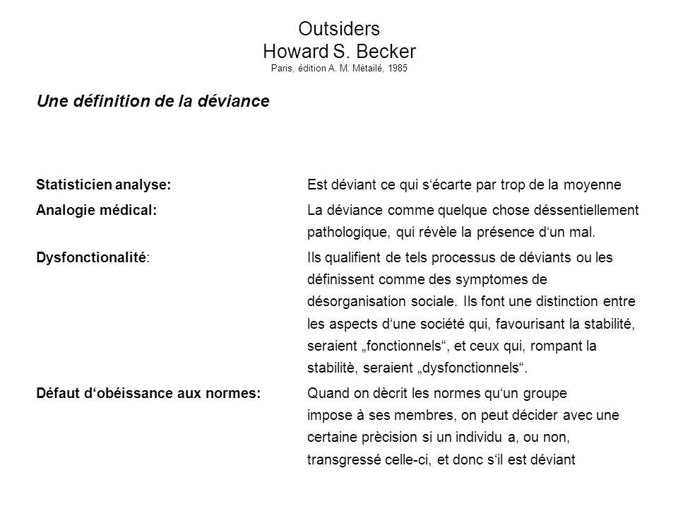 Outsiders Howard S. Becker Paris, édition A. M. Mètailé, 1985