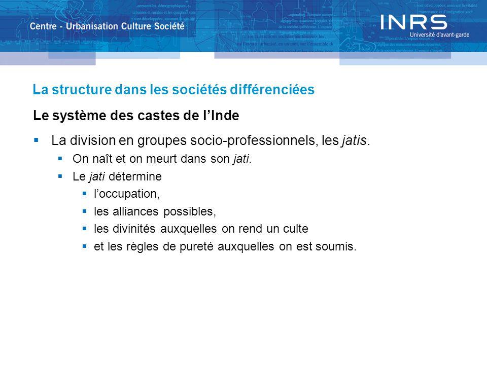 La structure dans les sociétés différenciées