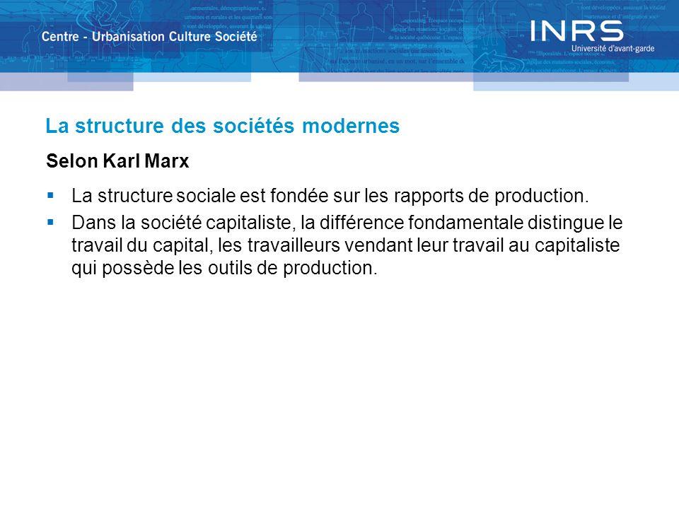 La structure des sociétés modernes