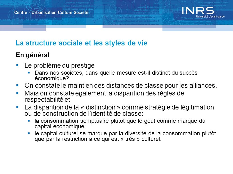 La structure sociale et les styles de vie