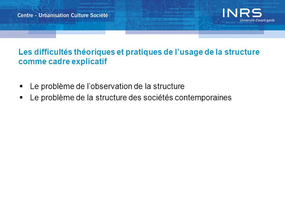 Les difficultés théoriques et pratiques de l'usage de la structure comme cadre explicatif