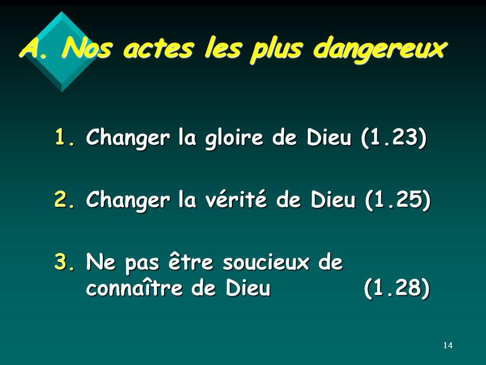 A. Nos actes les plus dangereux