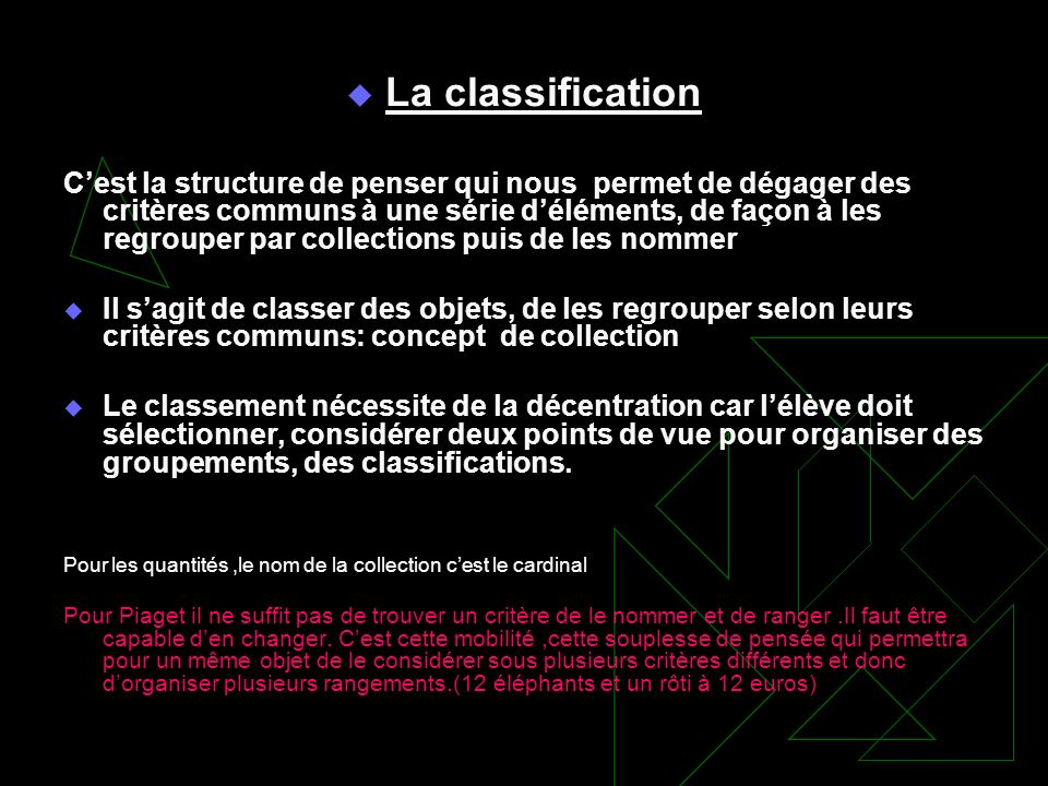 La classification