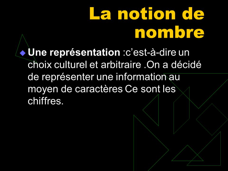 La notion de nombre