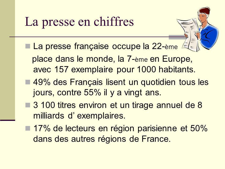 La presse en chiffres La presse française occupe la 22-ème