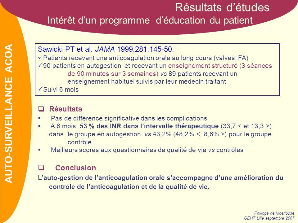 Résultats d'études Intérêt d'un programme d'éducation du patient