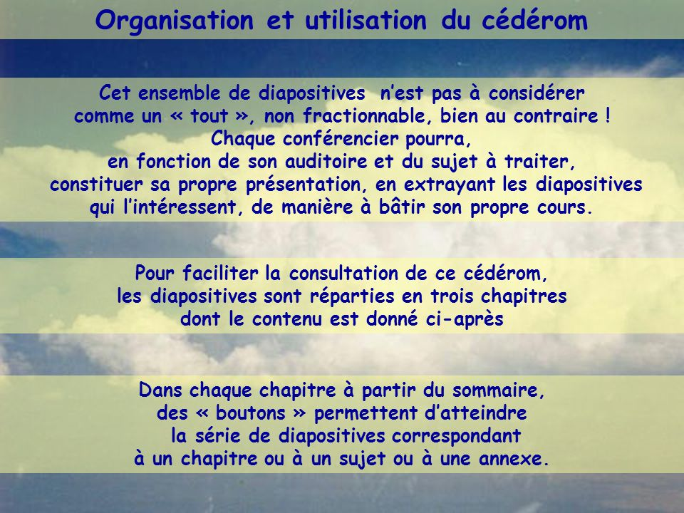 Organisation et utilisation du cédérom