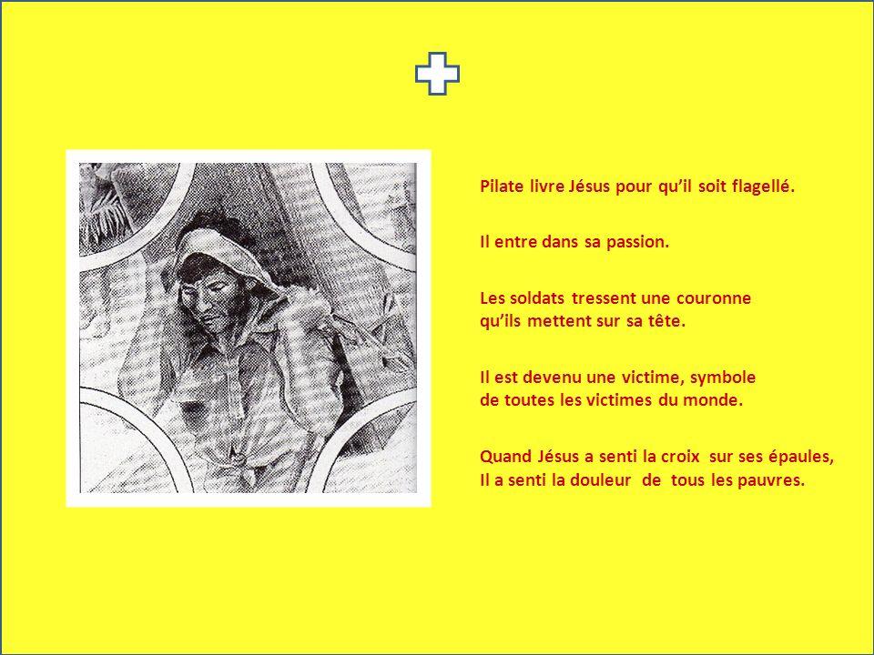 Pilate livre Jésus pour qu'il soit flagellé.
