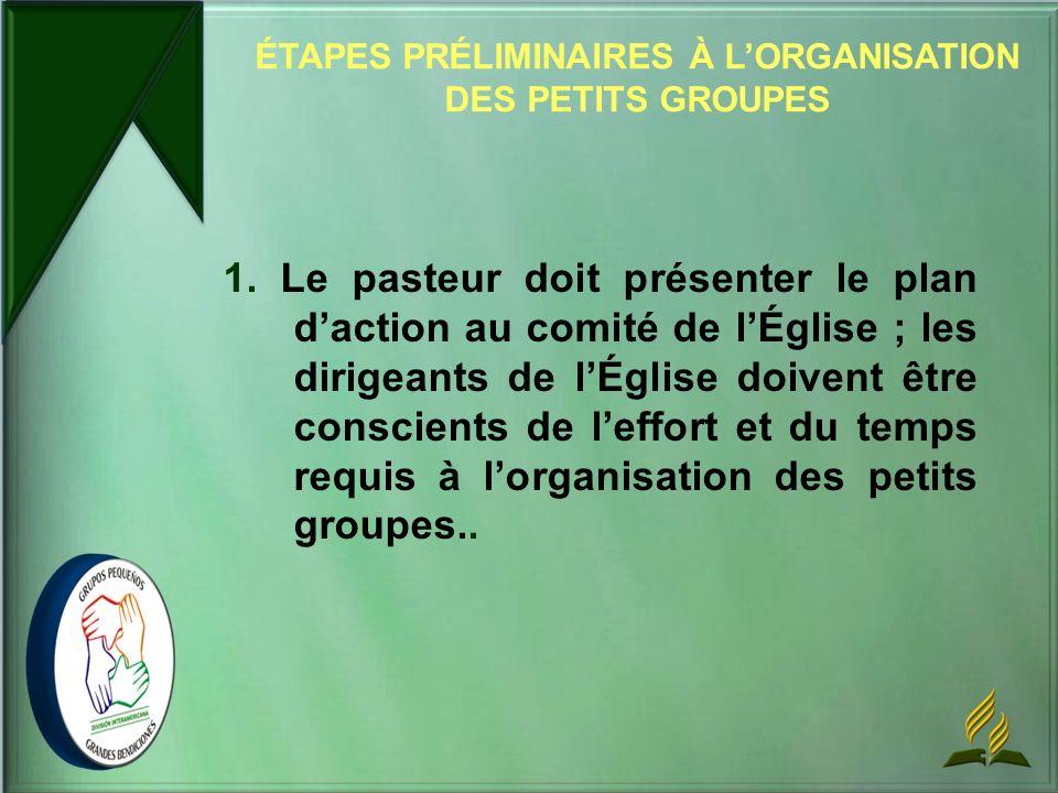ÉTAPES PRÉLIMINAIRES À L'ORGANISATION DES PETITS GROUPES