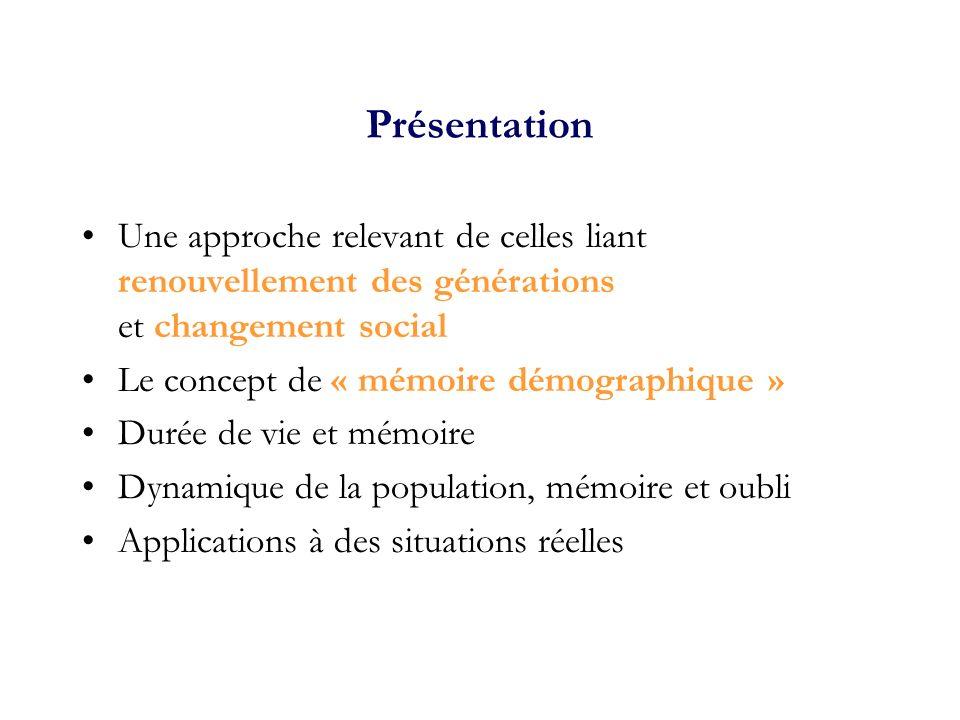 Présentation Une approche relevant de celles liant renouvellement des générations et changement social.