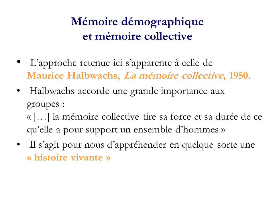 Mémoire démographique et mémoire collective